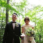 軽井沢高原教会:ゲストと旅行気分でたくさんの思い出をつくることができた。ドレスが映える最高のロケーションで写真撮影も