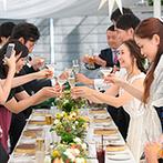 星野リゾート リゾナーレ八ヶ岳:まわりの緑に溶け込む可愛らしいテーブル装飾。楽しいパフォーマンスでイタリア料理のおいしさも倍増