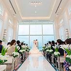 セントレジェンダ OKINAWA(CENTLEGENDA OKINAWA):大切な人達を招待して叶えるリゾート挙式に期待で胸が膨らんだ。海の傍に佇むウエディング空間に一目惚れ