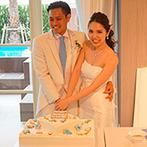 セントレジェンダ OKINAWA(CENTLEGENDA OKINAWA):沖縄の海を思わせる、『オーシャンブルー』のコーディネート。新婦がデザインしたマリン風のケーキも好評
