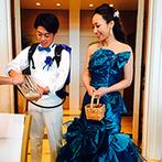 セントレジェンダ OKINAWA(CENTLEGENDA OKINAWA):きりっとした青×白のテーマカラーが目を惹くパーティ。美味しい料理とお酒、ふれあいを楽しく満喫できた