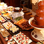 Coeur a Coeur Liente(クーラクー リアンテ)(旧 SP VILLAS サンパレス福島):披露宴前から始まるおいしいおもてなし。ウェルカムドルチェやデザートビュッフェがゲストに大好評