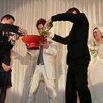 きざん八戸:故郷を愛するふたり。出身地の地酒を使って盃を交わす演出や名産品が当たるサプライズ抽選会で盛り上げた