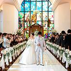 仙台ゆりが丘 マリアージュ アン ヴィラ:壮麗な白亜の大聖堂は、地元カップルの憧れ。ステンドグラスの輝きに包まれて、幻想的な挙式を叶えたかった
