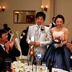 仙台ゆりが丘 マリアージュ アン ヴィラ:ユニークな利き酒コーナーに、舌の肥えたゲストも大満足。さり気ない気配りで、大人も子どもも楽しめる宴に