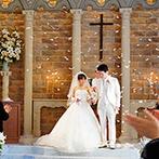マリエールオークパイン日田:県内屈指のスケールを誇る、大聖堂での教会式。たくさんの温かみに包まれて誓った後は、天使の羽根の祝福も