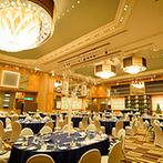 THE MARCUS SQUARE NAGASAKI(旧 ベストウェスタンプレミアホテル長崎):上質感あふれる「大人のクリスマス」を表現。両家両親と一皿ごとに厳選したフルコースがゲストに喜ばれた