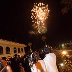 THE VILLAS 長崎(ザ ヴィラズ):クライマックスはライトアップされた夜のガーデンでワンスモア乾杯!打ち上げ花火がみんなの心に刻まれた