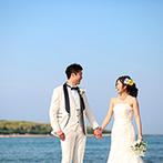 プレジール迎賓館:宮崎の海辺にある公園で、青島をバックにロケーション撮影。計画的に準備を進めて充実したウエディングを