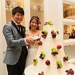 ララシャンス迎賓館:林檎と葡萄のオリジナルケーキは見事な完成度!ガーデンや大階段をフル活用した、キュートな入場演出も