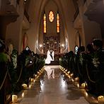 マリエール岡崎(St.Soleille大聖堂):アンティークのステンドグラスが美しい大聖堂で挙式。ガーデンでのアフターセレモニーは全員参加の演出も