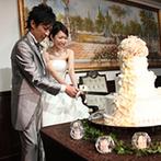 OSAKA St.BATH CHURCH(大阪セントバース教会):手作り動画で始まった、ふたりらしい温かな披露宴。ふたりお気に入りの美食やパティシエ渾身のケーキが好評