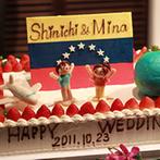 アイランドヒルズ迎賓館:当日まで、新郎にはヒミツ。新婦デザインを形にしたオリジナルケーキに、ゲストから歓声が沸き起こった