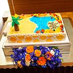 アイランドヒルズ迎賓館:オリジナリティあふれるコーディネート&ケーキ。会場の随所に光るふたりのこだわりが、ゲストを楽しませた