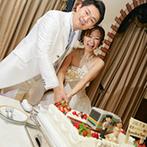 ヒカリフルコート:「賑やかなパーティ」というイメージ通り、笑いの絶えないひと時。世界に一つのケーキはふたりのお気に入り