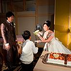 神宮会館:和装もドレスも華やかに見せてくれる和の空間。子どもゲストが運んだビッグスプーンに会場中が驚く一幕も