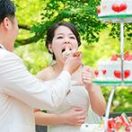 SHOZAN RESORT KYOTO(しょうざんリゾート京都):緑たっぷりのガーデンで、爽やかなケーキカットやデザートビュッフェ。かわいい園児たちからのサプライズも