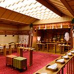 ホテルニューグランド:ホテル4階の館内神殿は、天候に左右されずゲストの移動も楽。厳かに響く雅楽の調べも神聖な時間を彩った