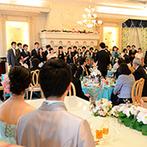 華王殿:華やかな入場演出にゲストの視線が集中!共通の趣味を活かしたケーキ&余興でふたりらしいパーティに
