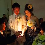 華王殿:星空のようにきらめく青いドレスで幸せを灯すキャンドルリレー。ガーデンでのバルーンリリースも叶えられた