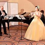 福山ニューキャッスルホテル:オーボエ奏者の新婦と師匠、ピアニストの友人とのコラボ演奏。心地よい音楽とキャンドルの灯で感動的な宴に