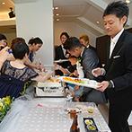 福山ニューキャッスルホテル:自然光あふれる心地よいゲストハウスでおもてなし。和洋折衷料理やウエディングケーキがゲストに喜ばれた