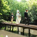 浮月楼:足を踏み入れた瞬間に感じる、美しい緑と重厚感のある建物が織りなす別世界。格式高い料亭で優雅な結婚式
