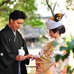浮月楼:雨予報から一転、青空も顔を覗かせた日本庭園での神前挙式。急遽、セッティングしてくれたスタッフに感謝