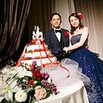 西鉄グランドホテル:ビジューがきらめくブルーのドレスにお色直し。年配ゲストも安心して味わえるビーフシチューも大好評!