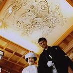 スタイリッシュウェディング ヴィーナスコート 長野:憧れの戸隠神社での神前式!天井絵の下で撮った写真も、最後にもらったお守りも、すべてが一生の宝物