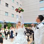 ホテルメトロポリタン長野:美しい純白のチャペルで家族の絆を感じる人前式。ガーデンでのプレパーティも演出満載の楽しい時間に