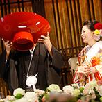 桜鶴苑(おうかくえん):鏡開きと大盃でお祝いムード満点。最新鋭のスクリーン演出やテーブルフォトなどゲストもめいっぱい楽しめた