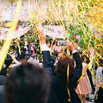会津 写遊庭:キラキラのシャボン玉の中、ガーデンから再登場!金色テープが飛び交う青空ステージで、両家のバンド演奏も