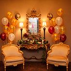 ホーリーザイオンズパーク セント・ヴァレンタイン:パーティ会場だけでなく待合室も自由にコーディネートしてふたりらしく。自作のムービーにゲストも興味津々