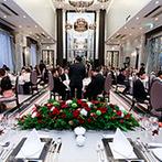 Wedding of Legend GLASTONIA(グラストニア):薔薇をあしらった装飾やケーキで大人のクリスマスを演出。こだわりのおもてなしでゲストの笑顔を引き出した