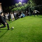 ル・クラブ・ド・マリアージュ:ガーデンにも持込み自由で、オリジナリティ満載のパーティに!PK合戦で盛り上げた後は、両親への感謝の涙