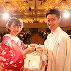 秋田ビューホテル:おめでたい一日にふさわしい上質感あふれる披露宴。料理やウエディングケーキはオリジナリティをプラス