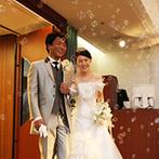 ホテル メルパルクHIROSHIMA:シャボン玉やバルーン演出で、心あたたまる披露宴。おもてなしは、受賞歴を持つシェフ渾身のフルコース