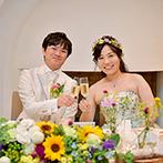 蓼科東急ホテル:色とりどりの花々を引き立てる白を基調とした貸切空間。ふたりの個性をちりばめた少人数パーティ