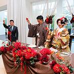 ヒルサイドクラブ迎賓館 札幌:和装にも洋装にも似合う会場装飾でゲストをお出迎え。おもてなし料理はシェフと直接打合せをして希望通り!