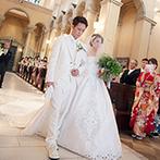 アモーレヴォレ サンマルコ:ベネツィアのサンマルコ寺院より祝福を受けた大聖堂。100名以上のゲストが見守る中、夫婦への道を歩んだ