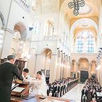 アモーレヴォレ サンマルコ:ヴェネツィアのサンマルコ寺院から祝福を受けた本格的な大聖堂。聖歌隊の歌声も挙式の感動を引き立てた