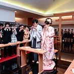 ホテルグランドティアラ 安城:120名まで参列可能な神殿で憧れの神前式。洋髪&色打掛の花嫁姿は、友人や親族にも「かわいい!」と大好評
