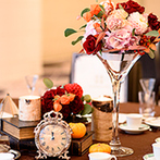 ホテルモントレエーデルホフ札幌:ハロウィンをイメージし、会場を新婦の好きな秋色でコーディネート。スープやパスタがゲストを喜ばせた