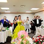 花巻温泉:みんなが踊りだすダンスナンバーでパーティは大盛り上がり!フォトラウンドではゲストとふれあう時間も