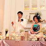 アーヴェリール迎賓館 富山:専属のフラワーコーディネーターのアレンジセンスが光るクラシカルな装花も、パーティを華やかに彩った