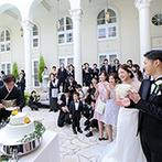 アーヴェリール迎賓館 富山:プール付きのガーデンで開放的なプレパーティ。友人代表のスピーチや、余興のメッセージムービーにも感動