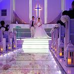 ラヴィール岡山:ガラスのバージンロードが祭壇へと導く最上階のチャペル。回廊に笑顔があふれたアフターセレモニー