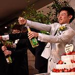 ラヴィール岡山:ユニークな演出がいっぱい!サプライズのシャンパンオープンや、カラードリップケーキで会場は和気あいあい
