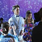 Geo World VIP(ジオ・ワールド ビップ):幻想的な星空の下でロマンチックなワンシーンも。ダイナミックな映像演出が披露宴をより感動的に彩った